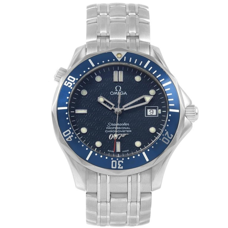 Men's Omega Seamaster 40 Years James Bond Blue Dial Watch 2537.80.00 For Sale