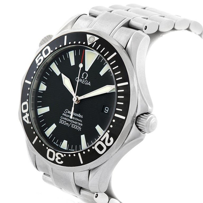Omega Seamaster 41 300M Black Dial Steel Mens Watch 2254.50.00 Box. Automatic self-winding movement. Stainless steel round case 41 mm in diameter. Black unidirectional rotating bezel. Scratch resistant sapphire crystal. Black wave decor dial with