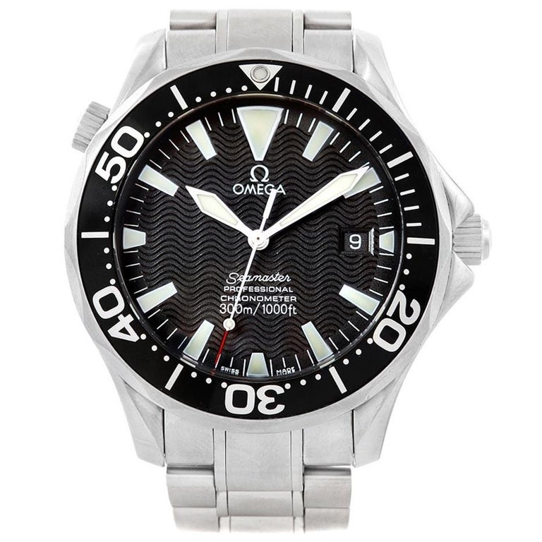 Omega Seamaster 41 300M Black Dial Steel Men's Watch 2254.50.00 Box For Sale 2