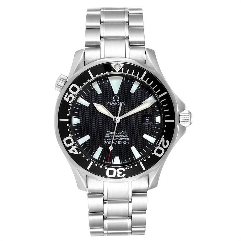 Omega Seamaster 41mm Black Wave Dial Steel Mens Watch 2254.50.00. Automatic self-winding movement. Stainless steel round case 41.0 mm in diameter. Black unidirectional rotating bezel. Scratch resistant sapphire crystal. Black wave decor dial with