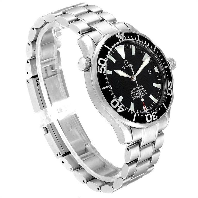 Omega Seamaster Black Wave Dial Steel Men's Watch 2254.50.00 In Excellent Condition In Atlanta, GA
