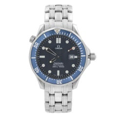 Omega Seamaster Stainless Steel Blue Wave Dial Quartz Mens Watch 2541.80.00