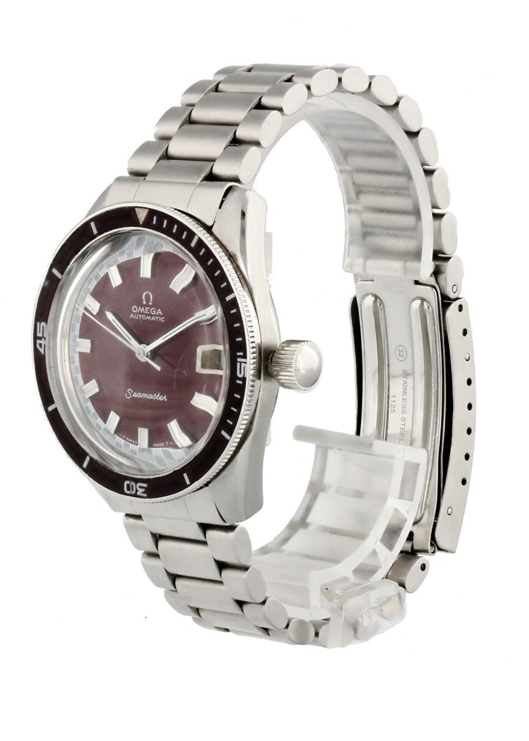 Omega Seamaster 60 Big Crown 166.062  Men Watch. 35mm Stainless Steel case. Stainless Steel Unidirectional bezel. Burgundy dial with Luminous Steel hands and index hour markers. Minute markers on the outer dial. Date display at the 3 o'clock