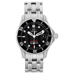 Omega Seamaster Black Dial Diamond Ladies Watch 212.30.28.61.51.001