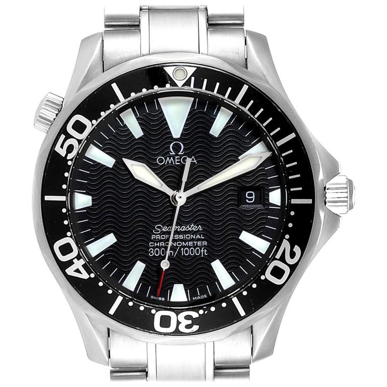 Omega Seamaster Black Wave Dial Steel Men's Watch 2254.50.00