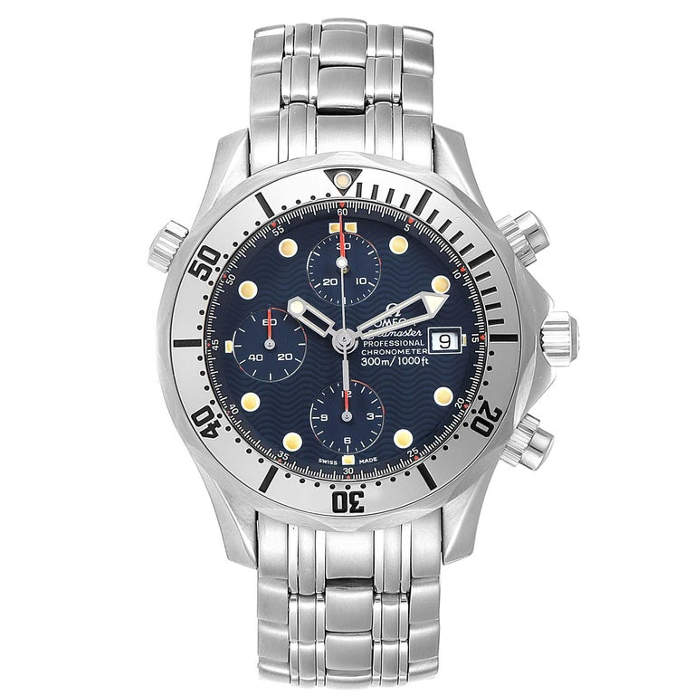 Omega Seamaster Blue Dial Chronograph Steel Mens Watch 2598.80.00. Officially certified chronometer automatic self-winding movement. Chronograph function. Brushed and polished stainless steel case 41.5 mm in diameter. Omega logo on a crown.