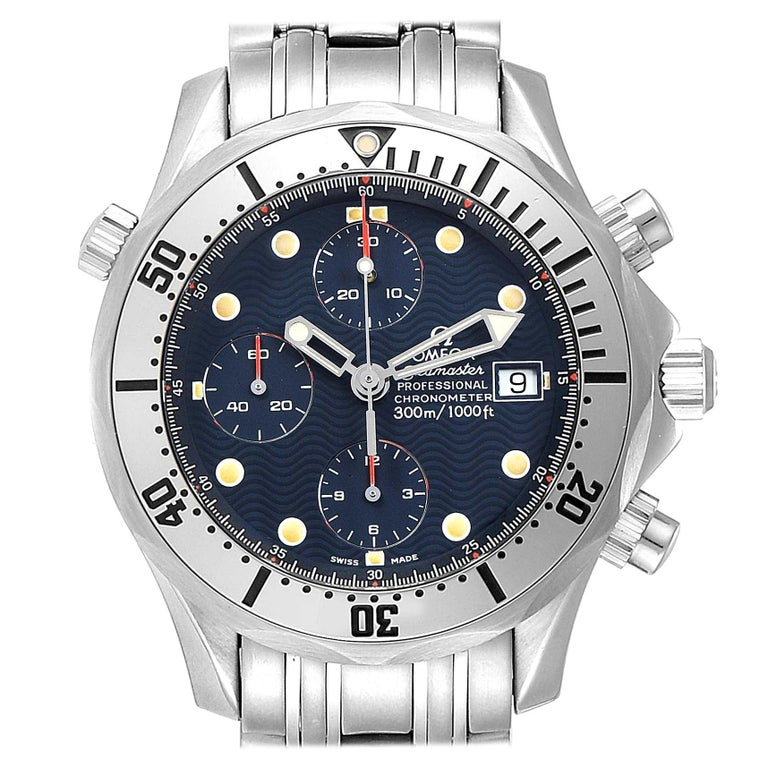 Omega Seamaster Blue Dial Chronograph Steel Men's Watch 2598.80.00 For Sale