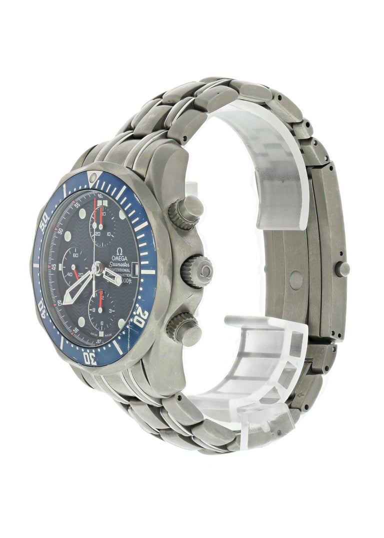 Omega Seamaster Professional 2298.80.00 Mens Watch 42 mm titanium case. Titanium unidirectional rotating blue bezel with gray Roman numerals. Blue wave dial with luminous hands and markers. Date display at 3 o'clock position. Three chronograph