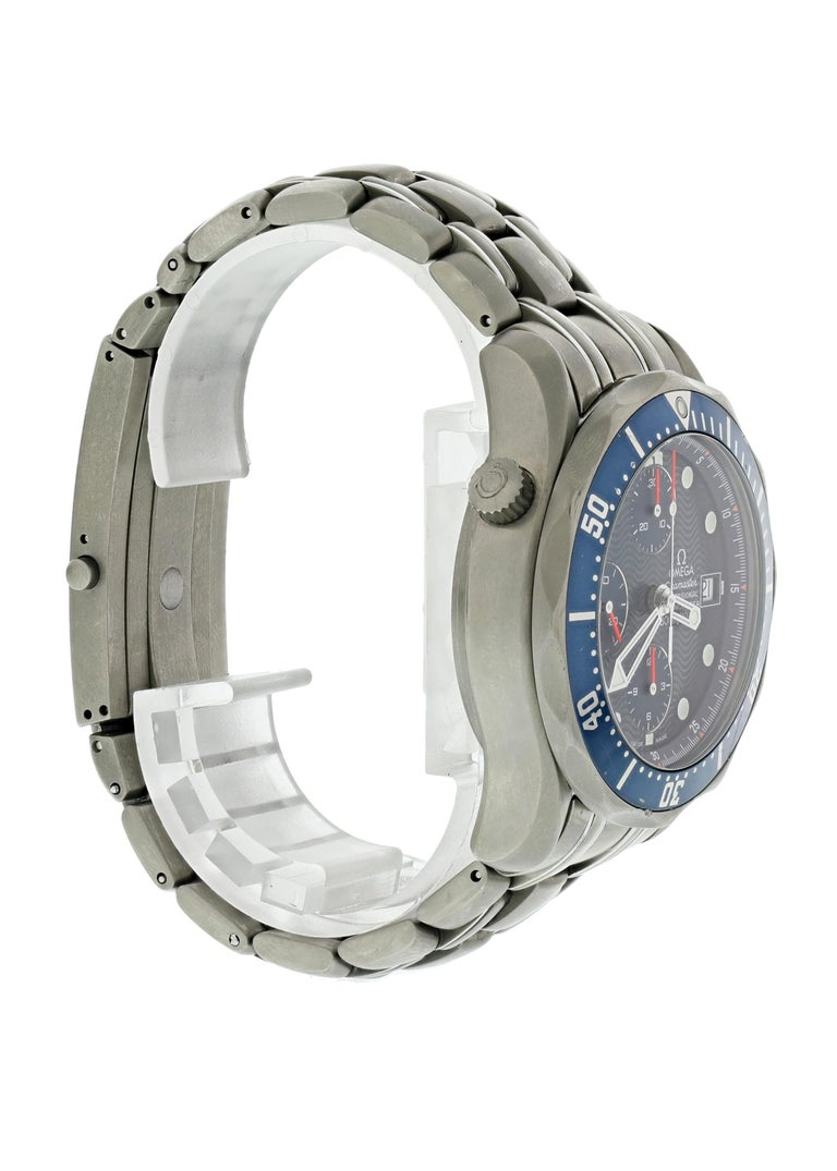 Omega Seamaster Chronograph 2298.80.00 Titanium Men's Watch Box Papers In Excellent Condition For Sale In New York, NY