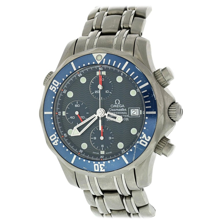 Omega Seamaster Chronograph 2298.80.00 Titanium Men's Watch Box Papers For Sale