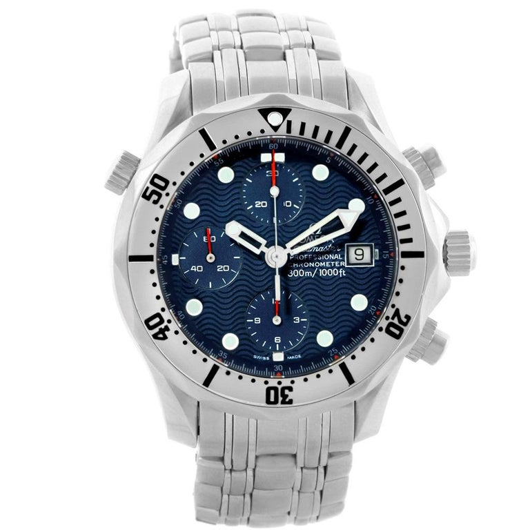 Omega Seamaster Chronograph Blue Dial Mens Watch 2598.80.00. Officially certified chronometer automatic self-winding movement. Chronograph function. Brushed and polished stainless steel case 41.5 mm in diameter. Omega logo on a crown. Unidirectional