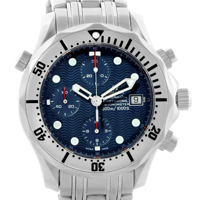 Omega Seamaster Chronograph Blue Dial Men's Watch 2598.80.00 In Excellent Condition For Sale In Atlanta, GA
