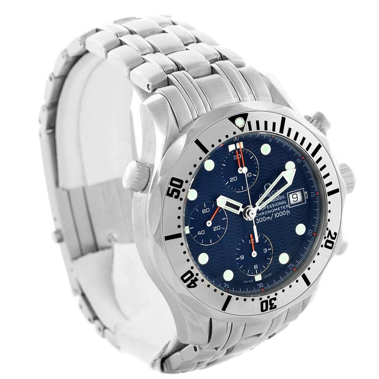Omega Seamaster Chronograph Blue Dial Men's Watch 2598.80.00 For Sale 1