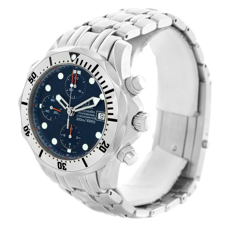 Omega Seamaster Chronograph Blue Dial Men's Watch 2598.80.00 For Sale 2