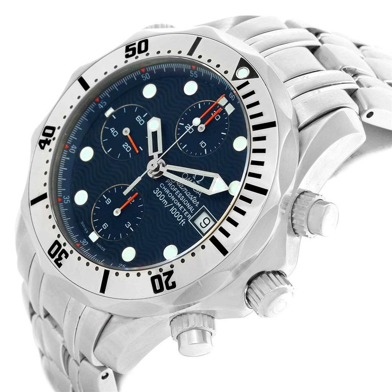 Omega Seamaster Chronograph Blue Dial Men's Watch 2598.80.00 For Sale 3