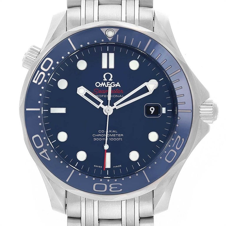 Omega Seamaster Diver Co-Axial Mens Watch 212.30.41.20.03.001 Box Card. Automatic self-winding chronometer, Co-Axial Escapement movement with rhodium-plated finish. Stainless steel case 41.0 mm in diameter. Omega logo on a crown. Blue ceramic