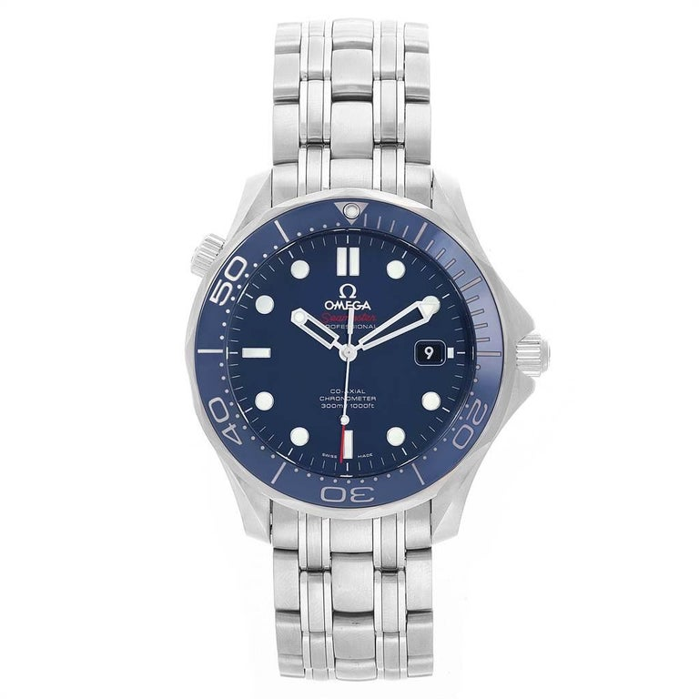 Omega Seamaster Diver Co-Axial Men's Watch 212.30.41.20.03.001 Box Card In Excellent Condition For Sale In Atlanta, GA