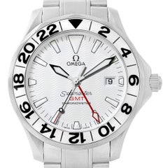 Omega Seamaster GMT White Wave Dial Watch 2538.20.00 Box Card
