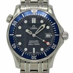 Omega Seamaster Mittelgroß Stahl Blaue Welle Quarz 2 Jahre Garantie #I2328