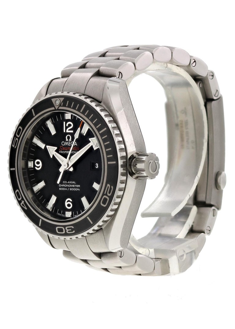 Omega Seamaster Planet Ocean 232.30.38.20.01.001 Men Watch.  37.5mm Stainless Steel case.  Stainless Steel Unidirectional bezel.  Black dial with Luminous Steel hands and index hour markers.  Minute markers on the outer dial.  Date display at the 3