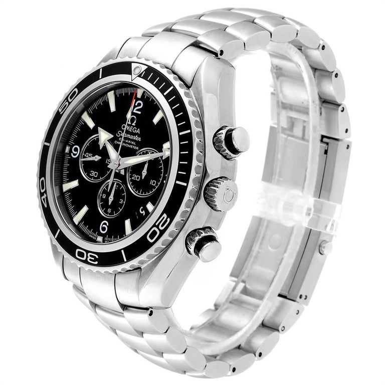 Men's Omega Seamaster Planet Ocean Chronograph Watch 2210.50.00 Card For Sale