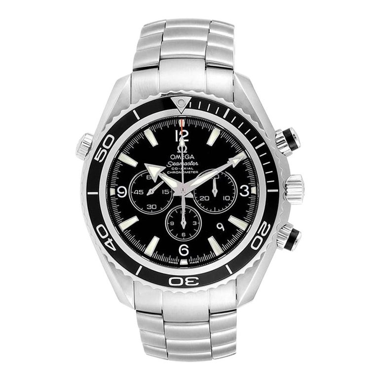 Omega Seamaster Planet Ocean Chronograph Watch 2210.50.00 Card For Sale