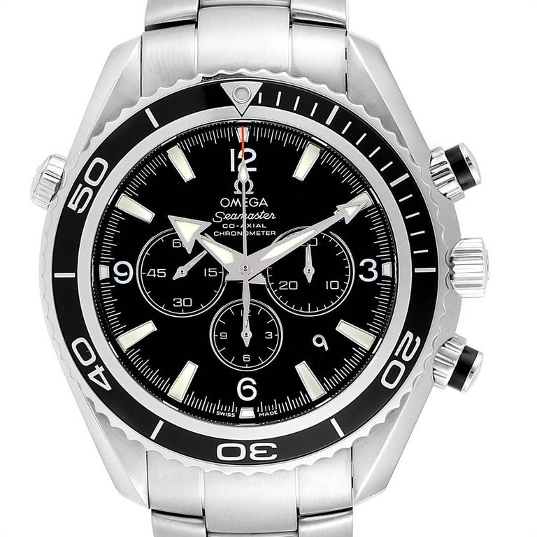 Omega Seamaster Planet Ocean Chronograph Watch 2210.50.00 Card. Automatic self-winding chronograph - chronometer movement. Stainless steel round case 45.0 mm in diameter. Helium Escapement Valve at the 10 o'clock position. Black uni-directional