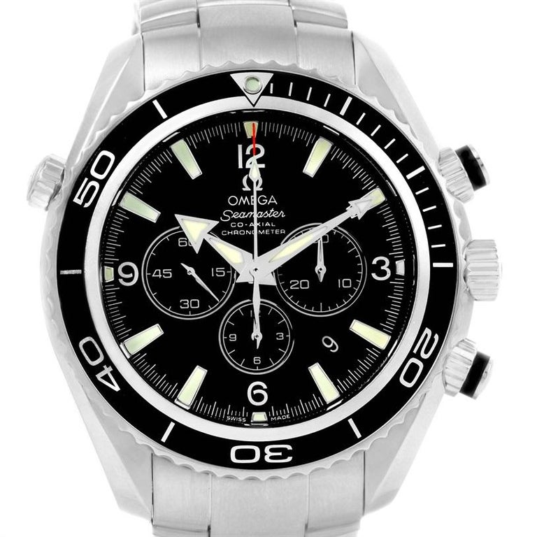 Omega Seamaster Planet Ocean Chronograph Watch 2210.50.00 For Sale