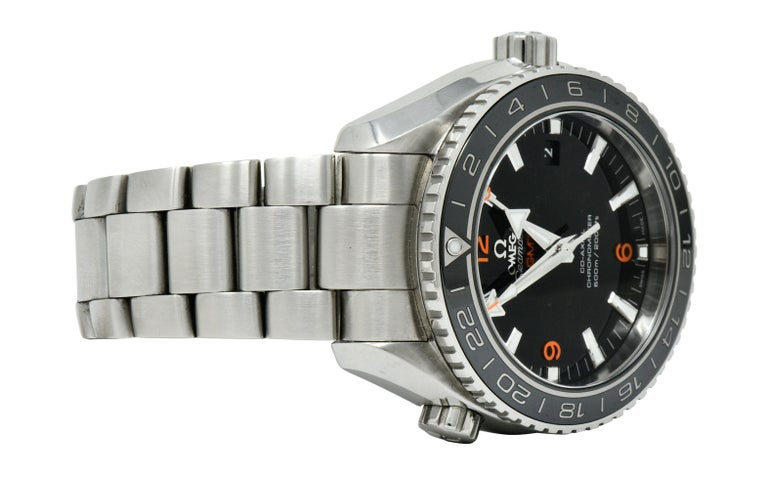 Contemporary Omega Seamaster Planet Ocean Chronometer GMT Stainless Steel Men's Watch