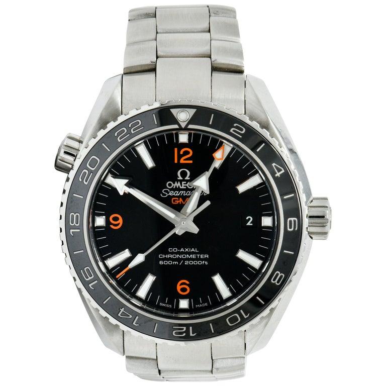 Omega Seamaster Planet Ocean Chronometer GMT Stainless Steel Men's Watch