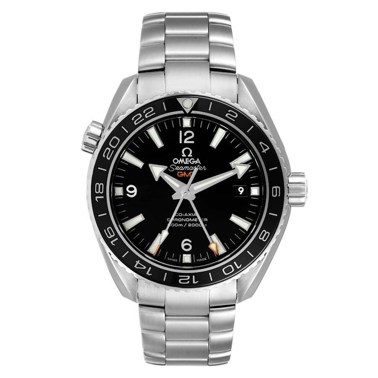 Omega Seamaster Planet Ocean GMT Watch 232.30.44.22.01.001 Box Card. Automatic self-winding chronometer movement with Co-Axial Escapement for greater precision, stability and durability. GMT with time zone function. Silicon balance-spring on free
