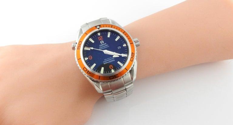 Omega Seamaster Planet Ocean Men's Watch Black Dial Orange Bezel Steel 6