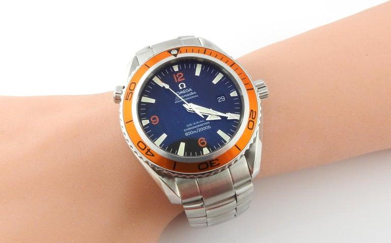 Omega Seamaster Planet Ocean Men's Watch Black Dial Orange Bezel Steel 7