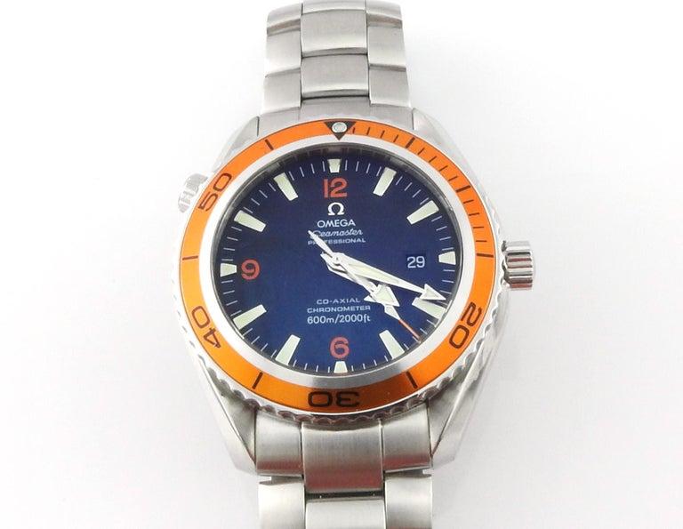 Omega Seamaster Planet Ocean Men's Watch Black Dial Orange Bezel Steel 5