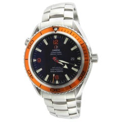 Omega Seamaster Planet Ocean Men's Watch Black Dial Orange Bezel Steel