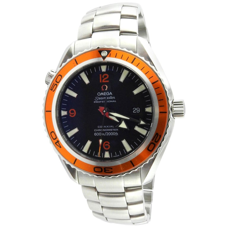 Omega Seamaster Planet Ocean Men's Watch Black Dial Orange Bezel Steel