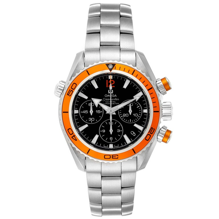 Omega Seamaster Planet Ocean Midsize Watch 222.30.38.50.01.002 Card. Automatic self-winding chronograph - chronometer movement with column wheel mechanism and Co-Axial Escapement. Stainless steel round case 37.5 mm in diameter. Orange