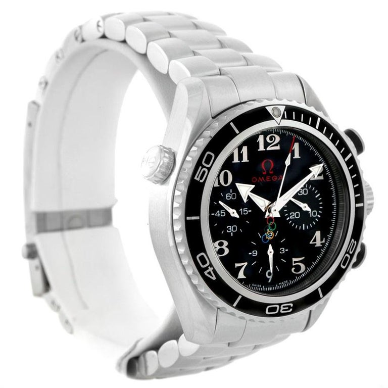 Omega Olympic Seamaster Planet Ocean Unworn 22230385001003 Watch. Automatic self-winding chronograph - chronometer movement with column wheel mechanism and Co-Axial Escapement. Stainless steel round case 37.5 mm in diameter. Black uni-directional