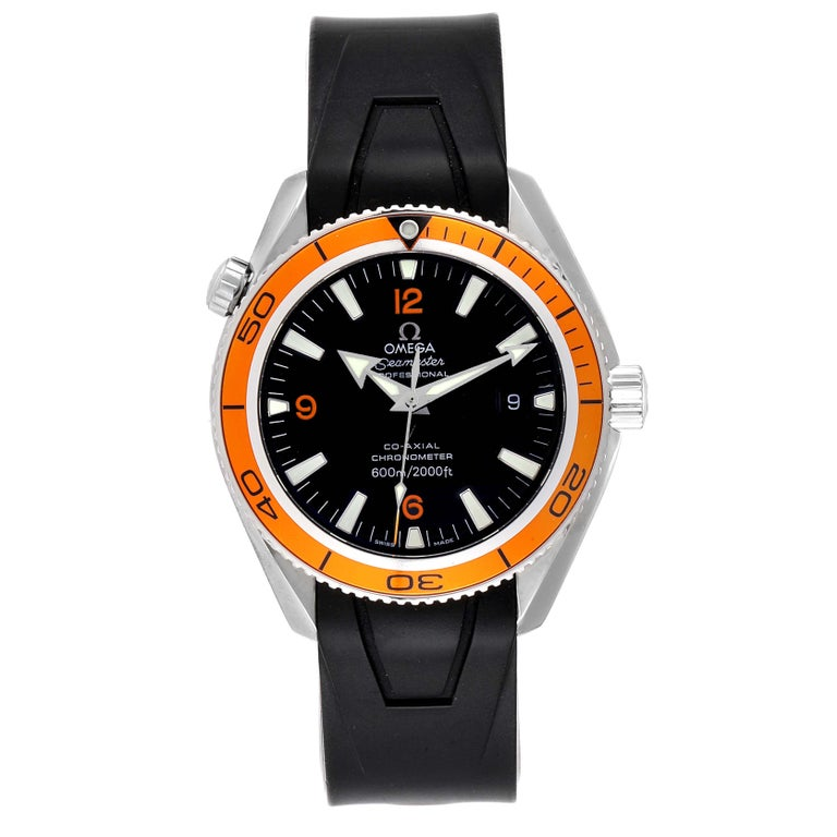 Omega Seamaster Planet Ocean Rubber Strap Mens Watch 2909.50.91 Box Card. Automatic self-winding chronograph movement. Stainless steel round case 42.0 mm in diameter. Orange uni-directional rotating bezel. Scratch resistant sapphire crystal. Black