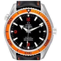 Omega Seamaster Planet Ocean XL Orange Bezel Watch 2208.50.83 Box Card