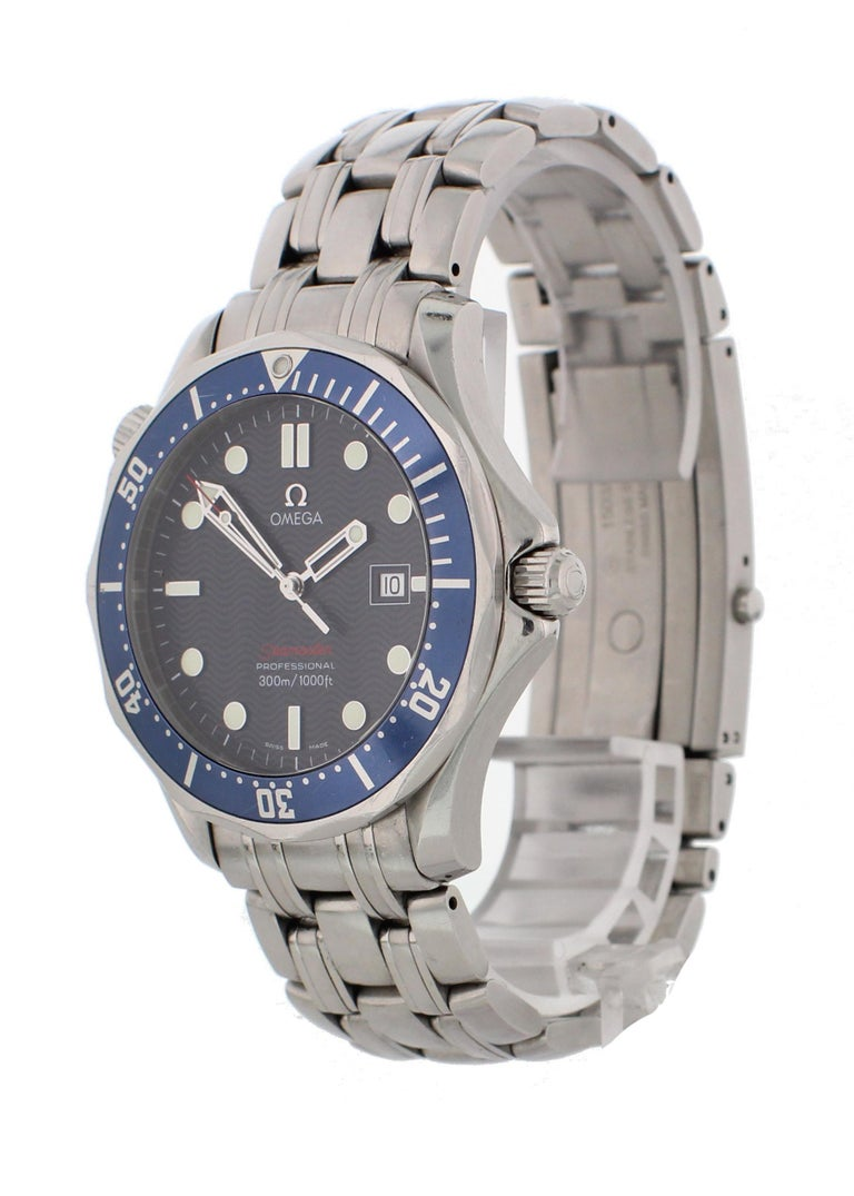 Omega Seamaster Professional 2221.80.00 Mens Watch. 41mm stainless steel case. Unidirectional blue bezel with a luminous 60-minute marker. Blue dial with minute markers, luminous hands, and indexes. Date display at the 3 O'clock position. Stainless