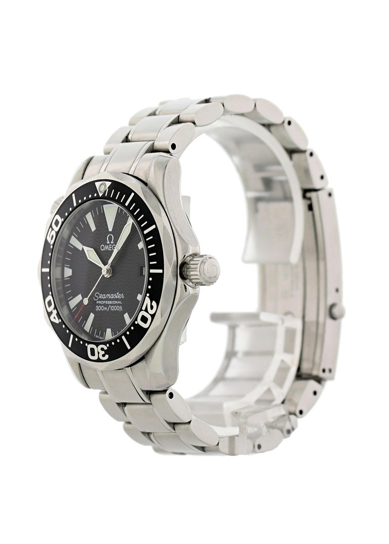 Omega Seamaster professional 2262.50.00 Mid Size Watch. 36mm stainless steel case with a unidirectional rotating bezel. Black dial with steel luminous hands and indexes Date display. 18mm stainless steel bracelet with double push button fold over