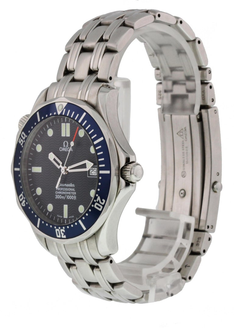 Omega Seamaster Professional Chronometer 2531.80.00 Mens Watch. 41mm stainless steel case. Unidirectional stainless steel bezel with a blue bezel insert and luminous 60-minute marker. Blue dial with steel luminous hands and luminous dot hour