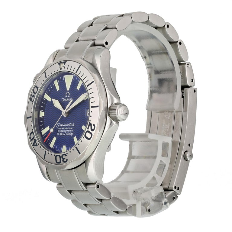 Omega Seamaster Professional 2253.80.00 Men Watch.  36mm Stainless Steel case.  Stainless Steel Stationary bezel.  Electric Blue dial with Luminous Steel hands and index, dot hour markers.  Minute markers on the outer dial.  Date display at the 3