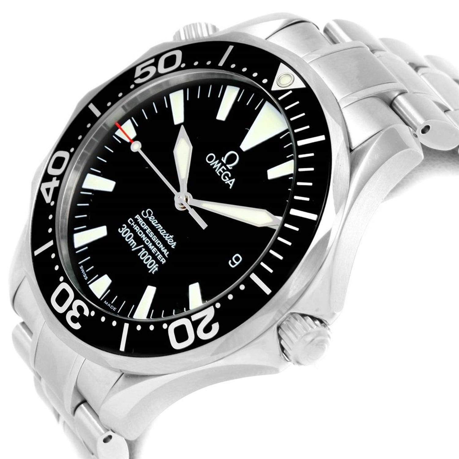 addd7c3b158 Omega Seamaster Professional Black Wave Dial Men s Watch 2254.50.00 For  Sale at 1stdibs