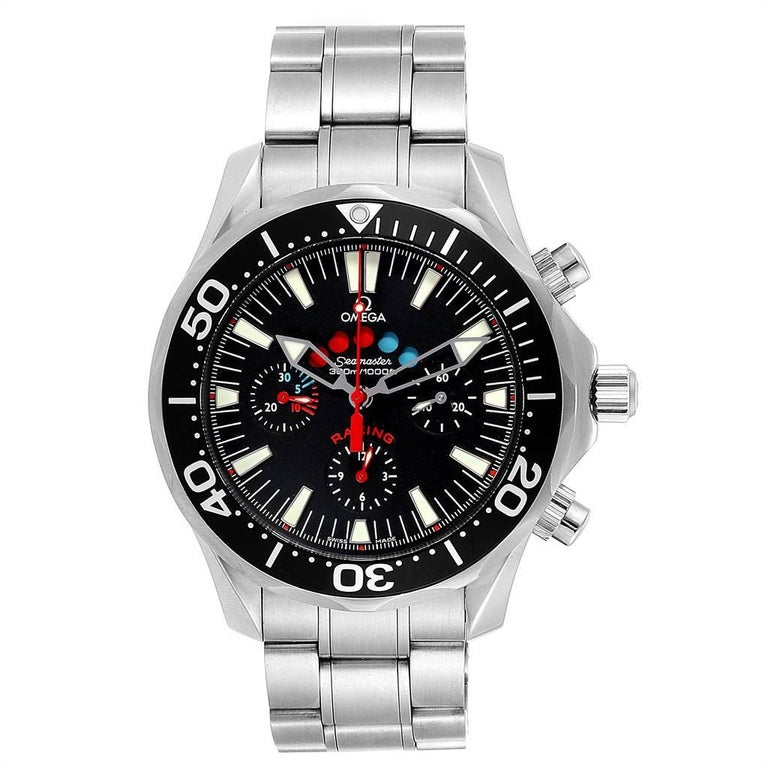 Omega Seamaster Regatta Racing Americas Cup Watch 2569.50.00 Box Card. Officially certified chronometer automatic self-winding chronograph with regatta count down timer. Hour, minute and small seconds hand, central chronograph, 12-hour and 30-minute