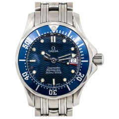 Omega Seamaster Stainless Steel Blue Dial and Bezel Ladies Watch in Stock