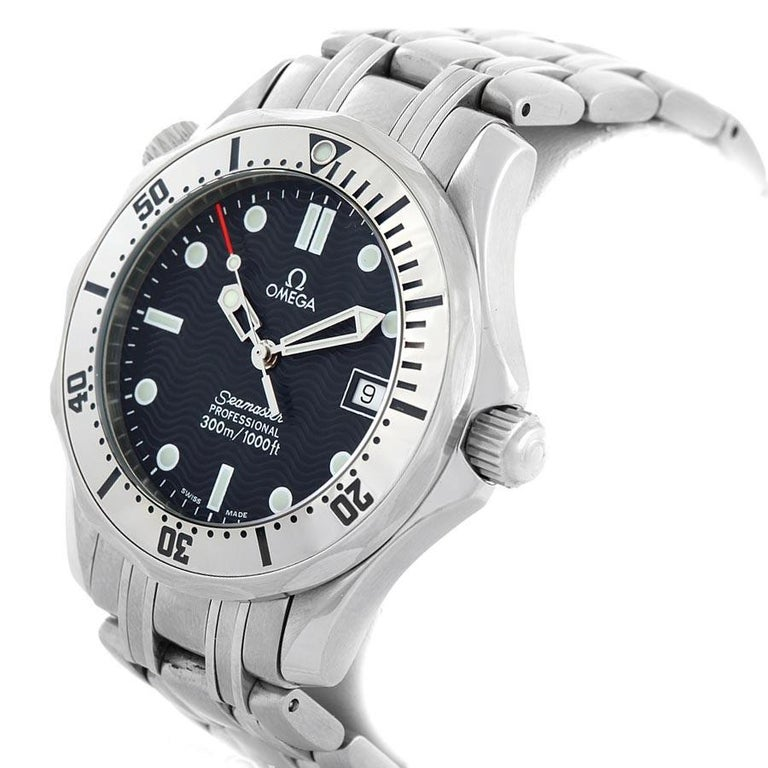 Omega Seamaster Steel Midsize 300 m Mens Watch 2562.80.00 Card. Quartz movement. Stainless steel case 36.25 mm in diameter. Omega logo on a crown. Unidirectional rotating stainless steel bezel. Scratch resistant sapphire crystal. Blue wave decor