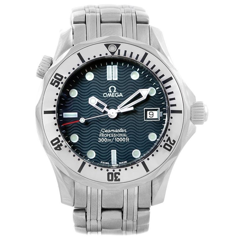 Omega Seamaster Steel Midsize 300 m Men's Watch 2562.80.00 Card For Sale 2