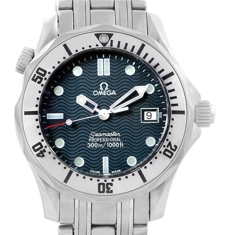 Omega Seamaster Steel Midsize 300 m Men's Watch 2562.80.00 Card For Sale